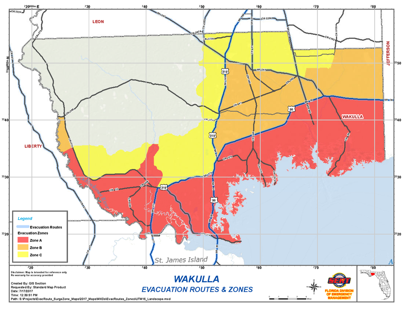 Wakulla County Evacuation Map.  Local officials are ordering mandatory evacuation for everyone in the red area (Zone A).
