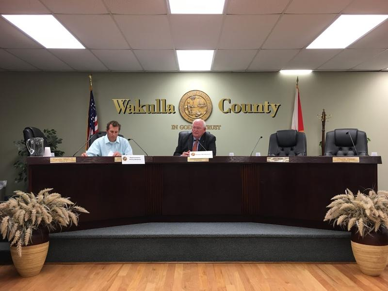 Beshears (left) and Montford at the Wakulla County Commission Chambers.