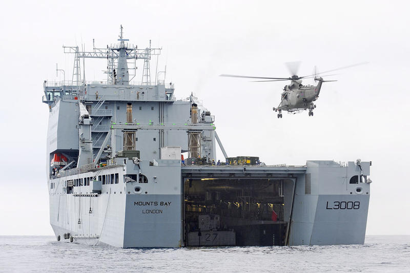 RFA Mounts Bay, the British Royal Navy auxiliary vessel from which the helicopter responded.
