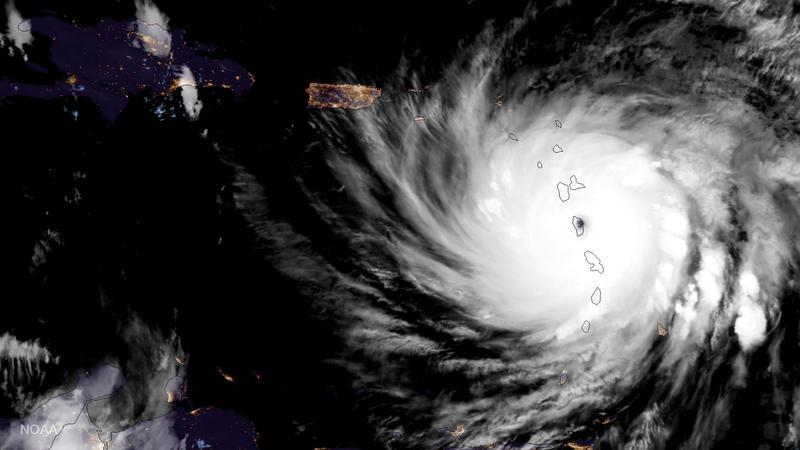 Hurricane Maria approaching Puerto Rico.