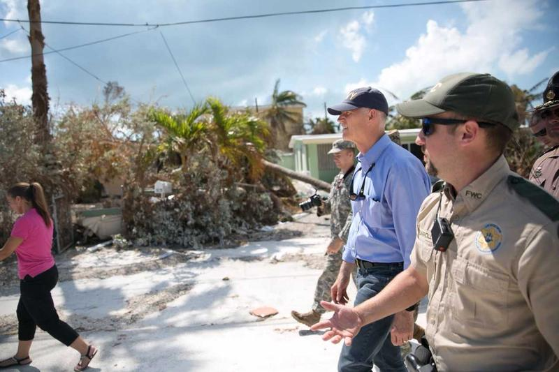 Gov. Scott touring damage in Key West after Hurricane Irma.