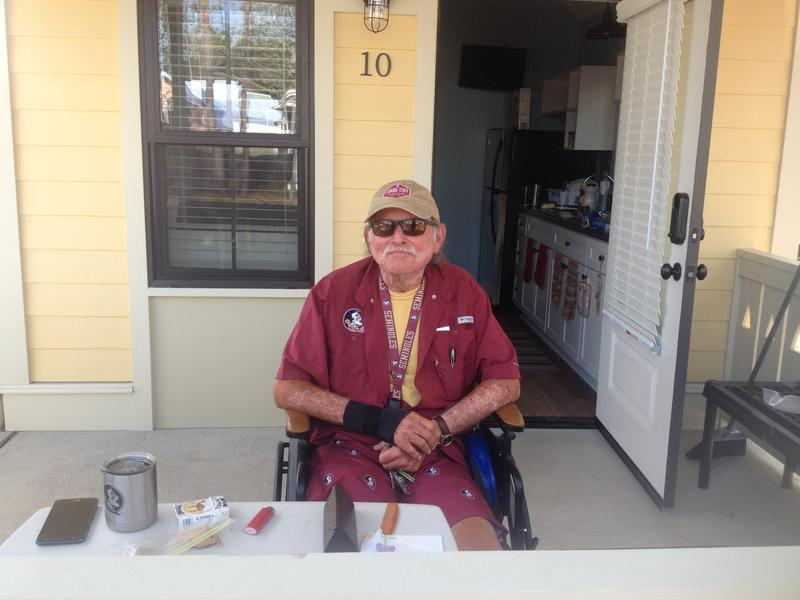 Russell Wallace, a 70-year-old retiree, lives in one of 11 tiny homes in the Dwellings community.