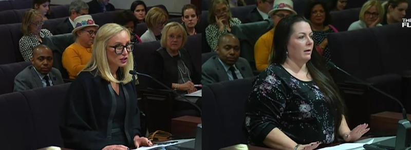 Sen. Lauren Book (D-Plantation)(left) is sponsoring a bill to remove Confederate holidays from Florida's books, which Mary Barlow (right) is against.