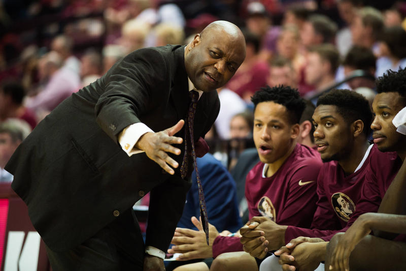 FSU Men's Basketball coach Leonard Hamilton talks to players (2/21/18).