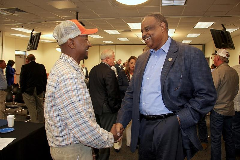 U.S. Rep Al Lawson meets DeMarcus Williams of the Federation of Southern Cooperative Farmers following the Farmers Roundtable (3/24/18).