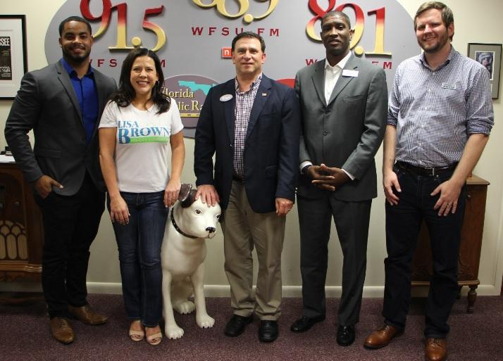 [Left to Right] Tallahassee Commission Seat 3 candidates: Richard Garzola,  Lisa Brown, Bill Schack, Alexander Jordan and  Jeremy Matlow were on Tuesday's Political Perspectives.