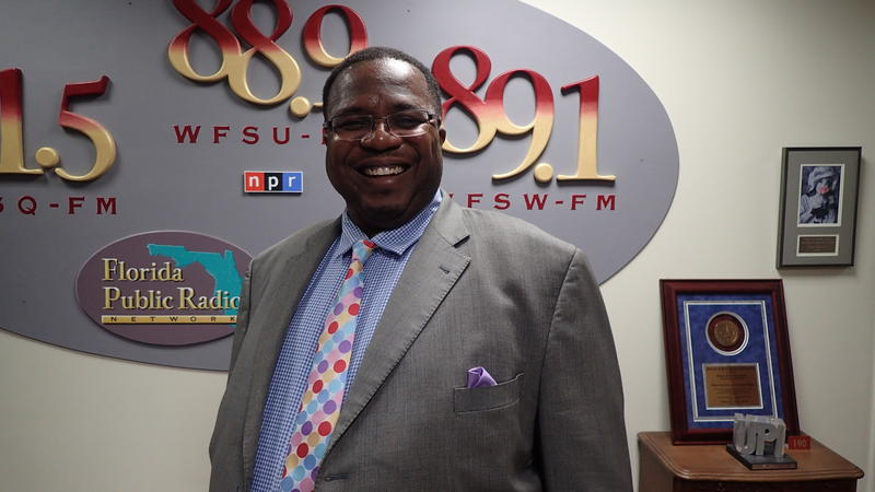 "Darryl Jones in July 2018 following an appearance on WFSU's Political ""Perspectives"" show. He is challenging incumbent Maggie Lewis Butler to represent the 3rd district on Leon County's School Board."