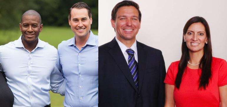 Florida Gov. candidates with their running mates [from left to right]: Tallahassee Mayor Andrew Gillum, a Democrat, chose Orlando Businessman and former rival Chris King, while Fla. Congressman Ron DeSantis, a Republican, chose state Rep. Jeanette Nunez.