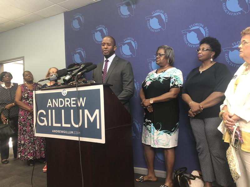Gillum speaks at a press conference to propose his education plan.