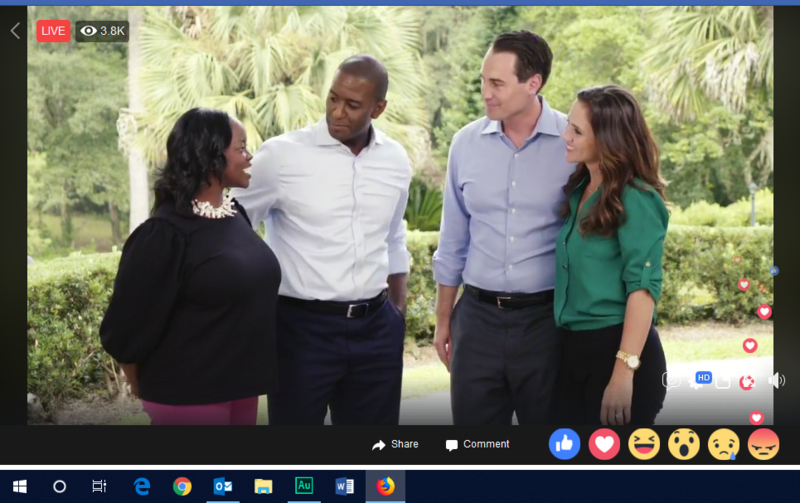 Andrew Gillum, his wife R. Jai welcome Chris King and wife Kristen via Facebook Live.