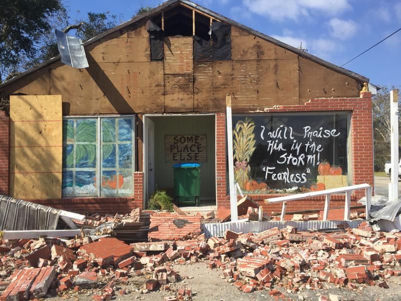 This antique store in Blountstown was severely damaged by Hurricane Michael. (October 2018)