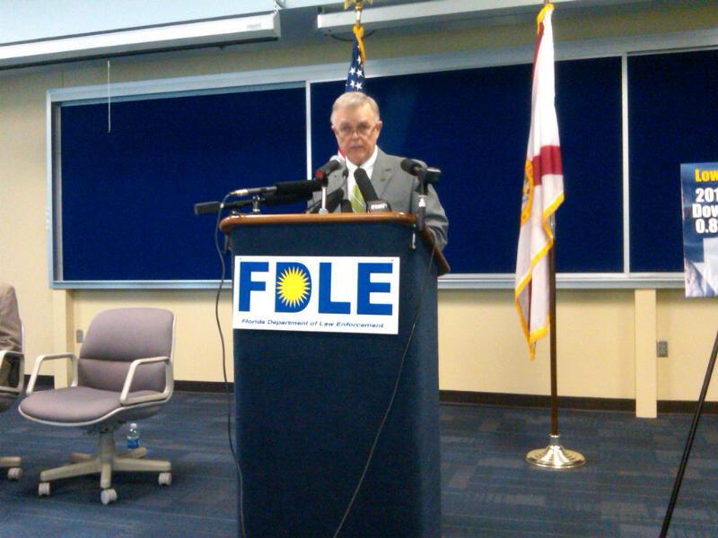 FDLE Commissioner Gerald Bailey presents the annual crime report