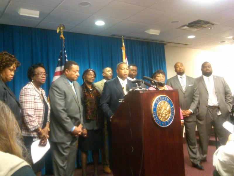 Members of the Florida Black Legislative Caucus speaking at a press conference.