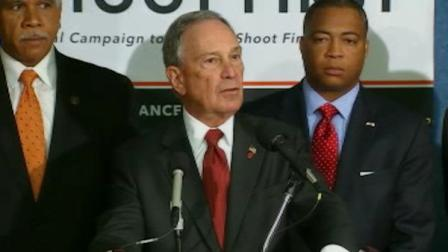 New York Mayor Michael Bloomberg with Florida Senator Chris Smith talking about Stand Your Ground Laws at a news conference in Washington D.C.