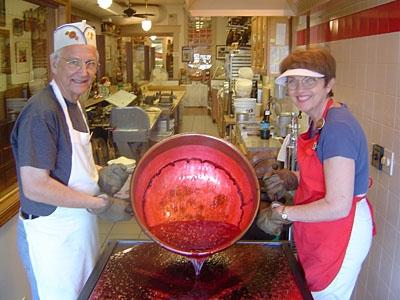Warrenand Jill Schimpf at their candy factory