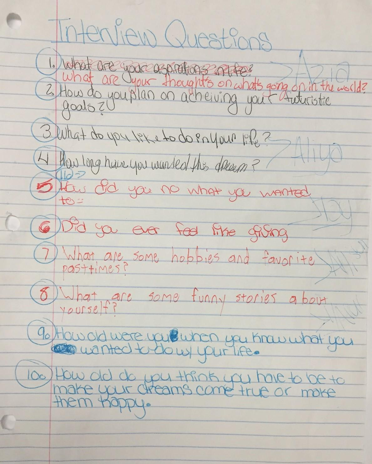 The List Of Questions Girls From Oasis Center Asked Each Other During Recorded Conversations At WFSU Studios