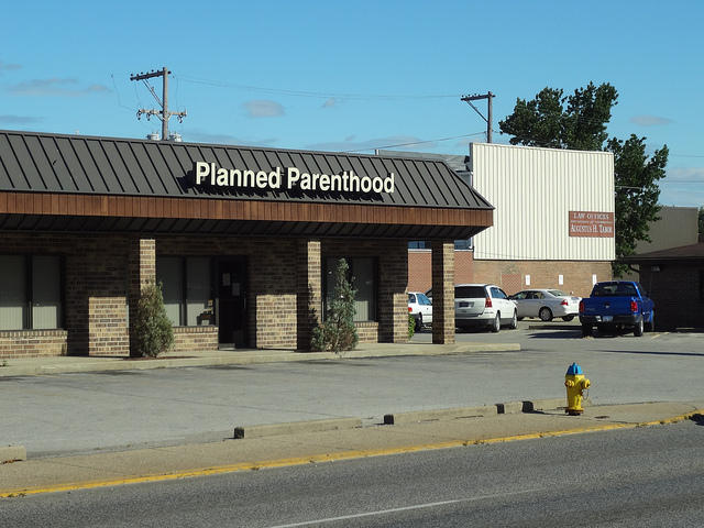 The former site of a Planned Parenthood clinic in Terre Haute, Ind.