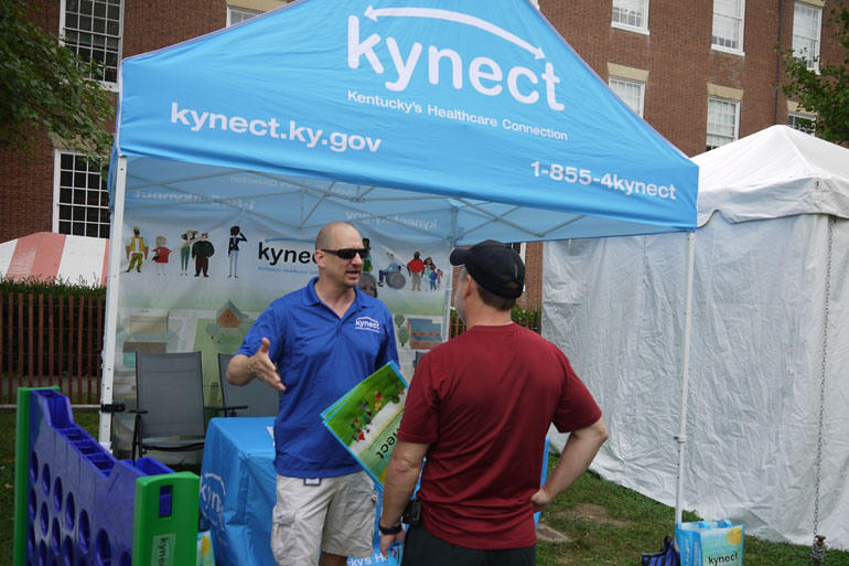 A Kynect booth at the Kentucky Bourbon Festival in Bardestown, Ky., in 2013.