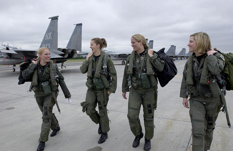 female Air Force captains at a base