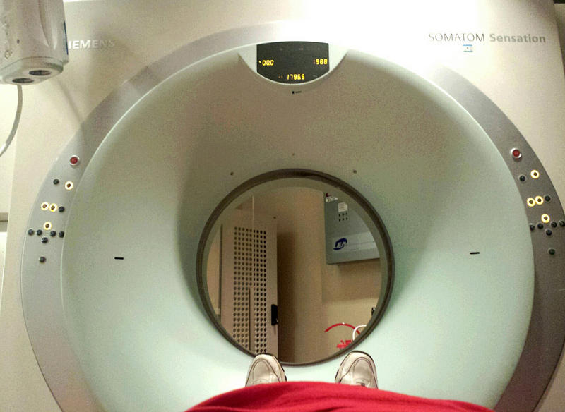 going into a CT scan machine