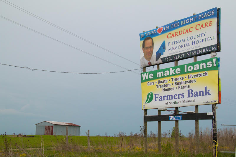billboard for Putnam County Hospital in rural Missouri