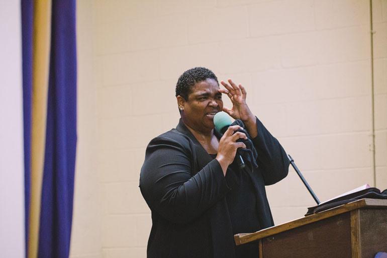 Rev. Donna Allen leads a sermon at New Revelation Community Church.