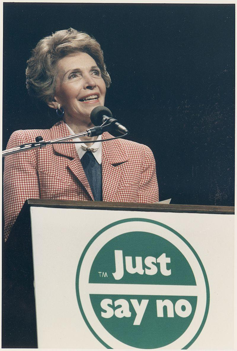 """First Lady Nancy Reagan speaking at a """"Just Say No"""" Rally in Los Angeles."""