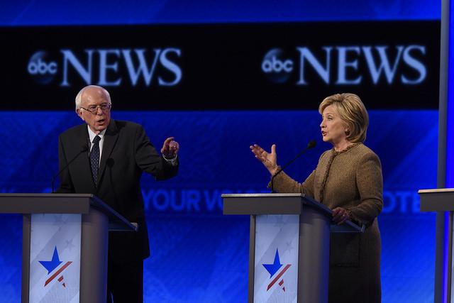 Bernie Sanders and Hillary Clinton in a televised debate