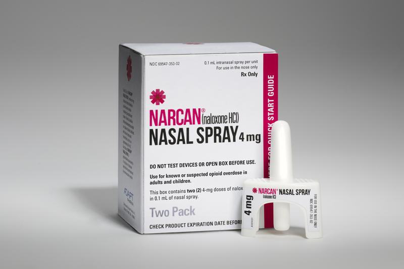 Adapt Pharma Narcan nasal spray and package