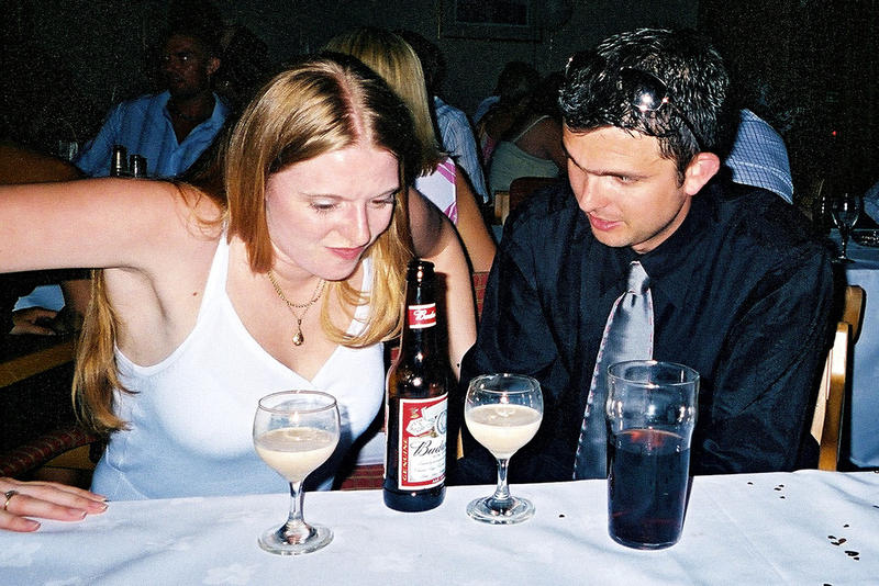 young woman and man drinking