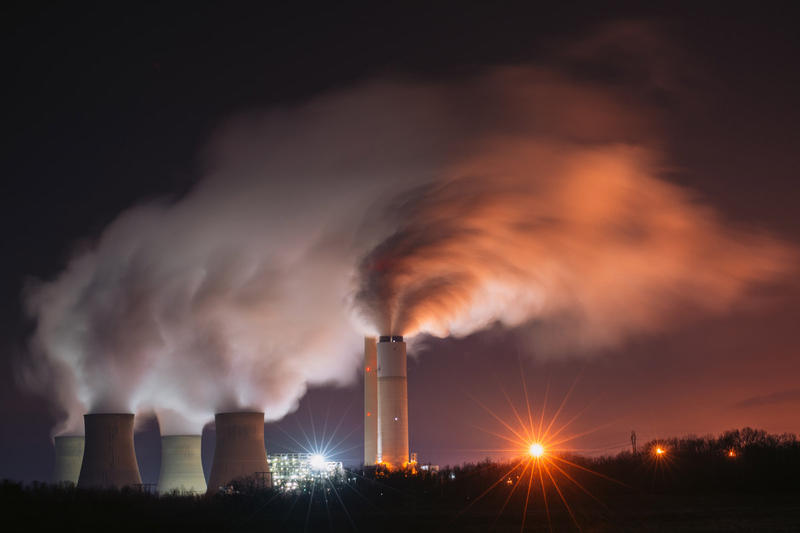 A nighttime view of the Keystone Generating Facility, a coal-fired power plant in southwestern Pennsylvania.