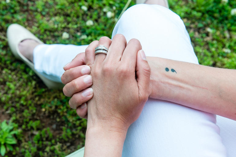 Powell has a semicolon tattoo on her right wrist. The tattoo refers to Project Semicolon, a nonprofit that aims to provide hope for those struggling with mental illness.