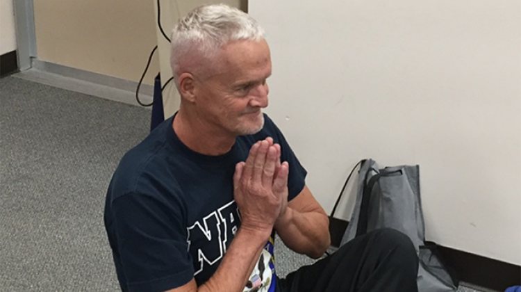 U.S. Navy veteran Larry Dodd says practicing yoga has already have positive effects on his health.