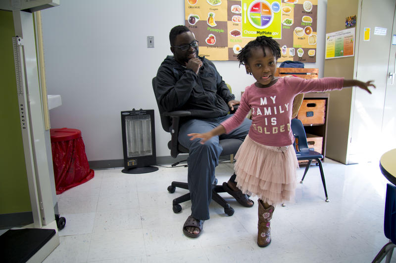 4-year-old Haven Brown dances in the nurse's office at the Julia Goldstein Early Childhood Education Center in University City, Mo. Brown is one of the growing number of students in Missouri with a food allergy.