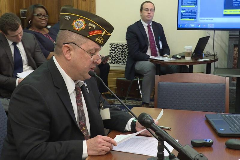 Jeff Staker asks the Veterans' Affairs committee to support his push for legalizing the use of medical marijuana.