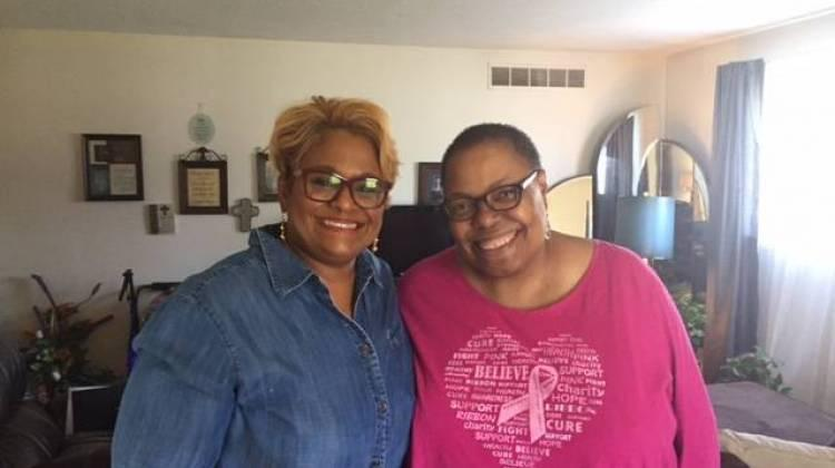 LaCheryl Hampton and Kelly Feyock at Hampton's home in Indianapolis.