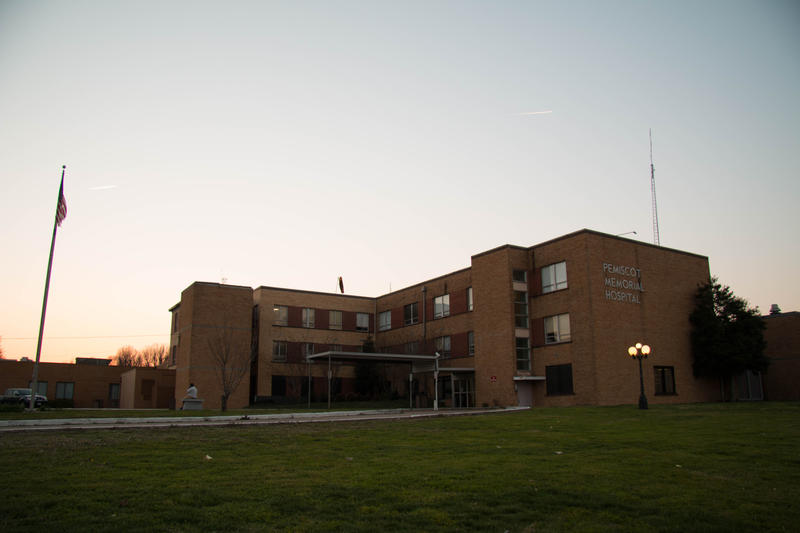 The sun sets on the Pemiscot County Hospital in Hayti, Missouri.