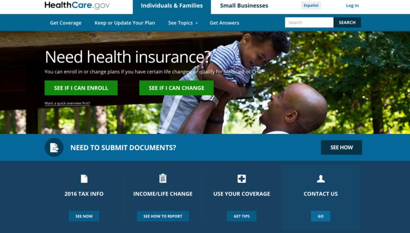 A screenshot of HealthCare.gov