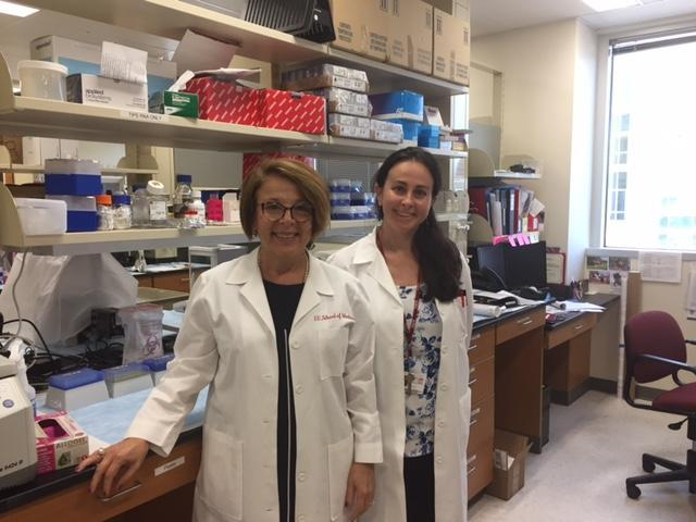 Dr. Anna Maria Storniolo and Dr. Natascia Marino at the Susan G Komen Tissue Bank at the IU Simon Cancer Center