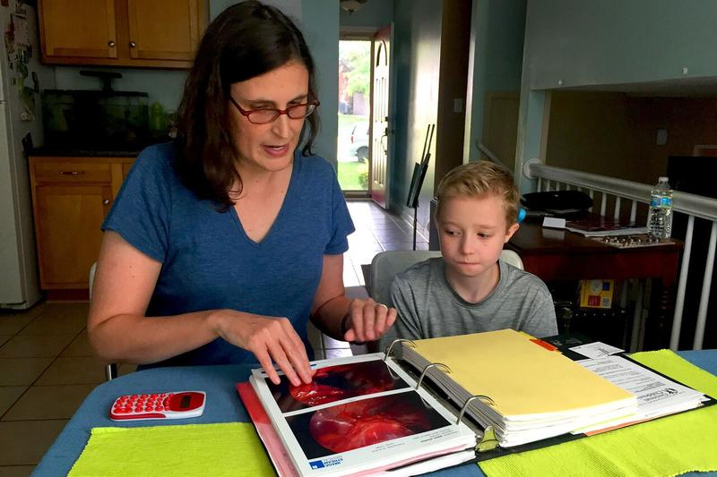Ann Pipes and her 11-year-old son, WInslow, review Winslow's medical records and the aid his public school is required to give him through the Americans with Disabilities Act. Winslow has a craniofacial isorder and sever congenital heaing loss.
