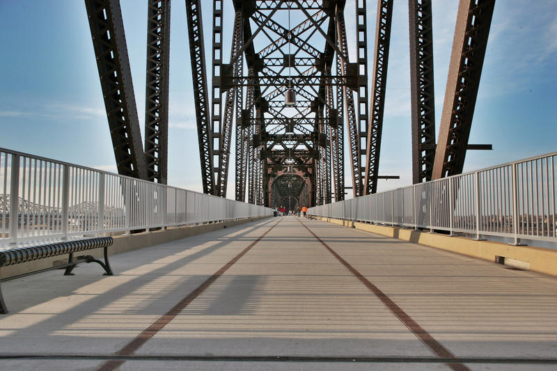 The Big Four Bridge, which connects Louisville, Kentucky with Jeffersonville, Indiana.