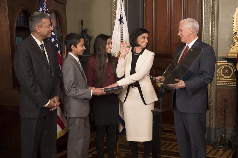 CMS Administrator Seema Verma being sworn in as CMS Adminstrator