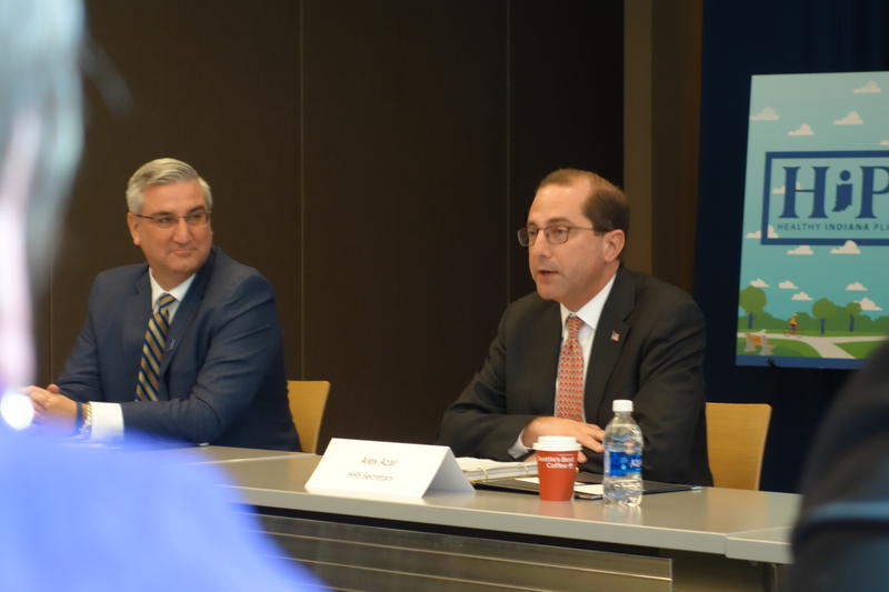 Alex Azar, right, Secretary of the U.S. Department of Health and Human Services, announced federal approval for the Healthy Indiana Plan alongside Gov. Eric Holcomb.