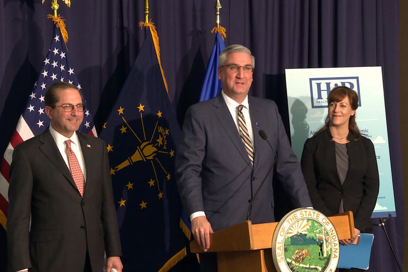U.S. Health and Human Services Secretary Alex Azar joins Gov. Eric Holcomb and Indiana Family and Social Services Administration Secretary Jennifer Walthall to announce Indiana's HIP approval in February.