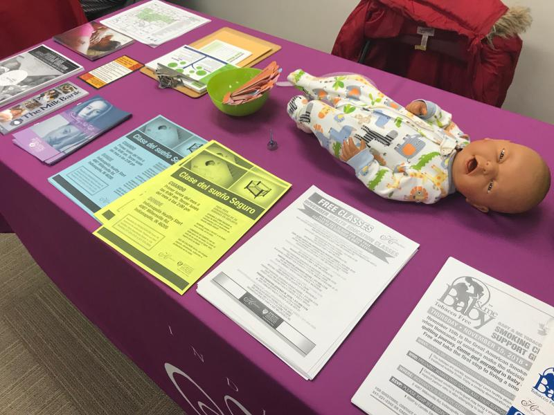 At a resource fair for new mothers held at Goodwill of Central and Southern Indiana, nonprofits and government agencies offered information on safe sleep practices, qutting smoking and other topics.