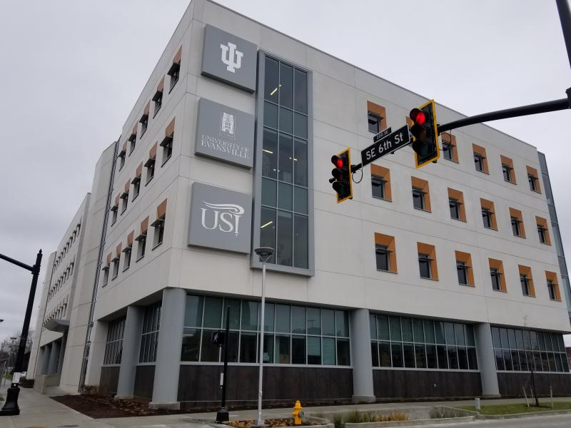 The Evansville campus of the Indiana University School of Medicine is now located in the Stone Family Center for Health Sciences, along with some health professions programs from two local universities.