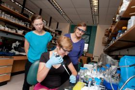 Two students in the lab with Associate Professor of Biology Amy Clore.