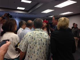 DEP Secretary Herschel Vinyard meets with angry residents following a fracking-like incident in Collier County.