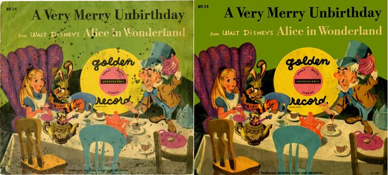 "Before-and-after restoration pictures of the front of ""A Verry Merry Unbirthday."""