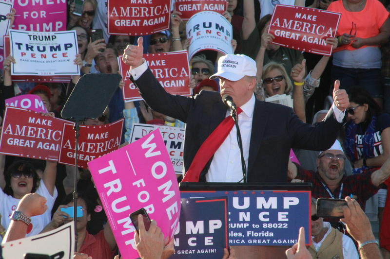 Trump at an October rally in Naples.
